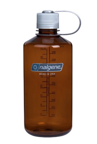 Nalgene Narrow Mouth Water Bottle 1 Quart Gray with Black Lid