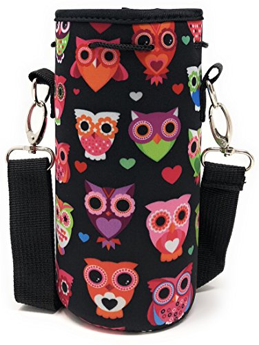 Sports Water Bottle Sleeve Holder Pouch Drawstring Bag Shoulder Strap Pouch